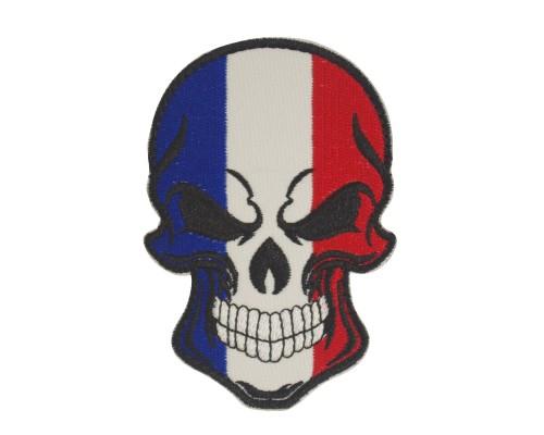 Militaire patch skull / doodshoofd in de kleuren Franse vlag met velcro