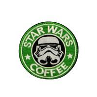 Star Wars Coffee geborduurde groene film patch met velcro