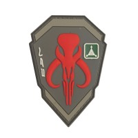 Headhunter Boba Fat Mandalorian Bantha Skull Dark Earth Rood PVC Patch met klittenband