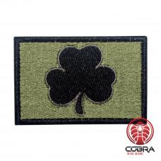 Irish Lucky Clover zwart Olijf Geborduurde militaire Patch met klittenband