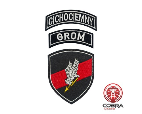 Polish Special Forces GROM Patch TF-49 Shield + GROM tab + CICHOCIEMNY Tab Geborduurde militaire Patch met klittenband