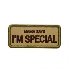 Mama SAYS I'm Special motivational geborduurde patch met klittenband