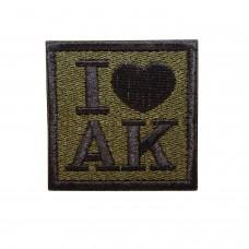 I ♥ AK Geborduurde patch met klittenband