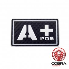 A+ POS bloedgroep 3D PVC Militaire patch fluo met klittenband