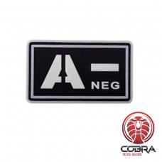 A- NEG fluo  bloedgroep 3D PVC Militaire patch fluo met klittenband