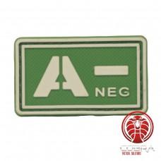 A- NEG 3D PVC Militaire bloedgroep patch groen fluo met klittenband