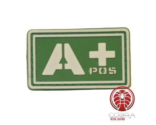 A+ POS 3D PVC Militaire bloedgroep patch groen fluo met klittenband