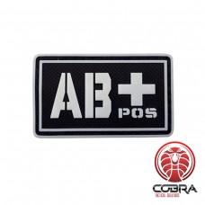 AB+ POS bloedgroep 3D PVC Militaire patch fluo met klittenband