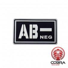 AB- NEG bloedgroep 3D PVC Militaire patch fluo met klittenband