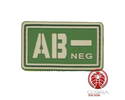 AB- NEG 3D PVC Militaire bloedgroep patch groen fluo met klittenband
