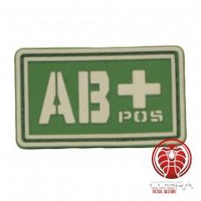 AB+ POS 3D PVC Militaire bloedgroep patch groen fluo met klittenband