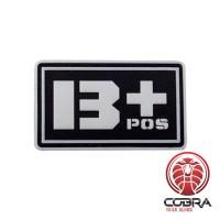 B+ POS  bloedgroep 3D PVC Militaire patch fluo met klittenband