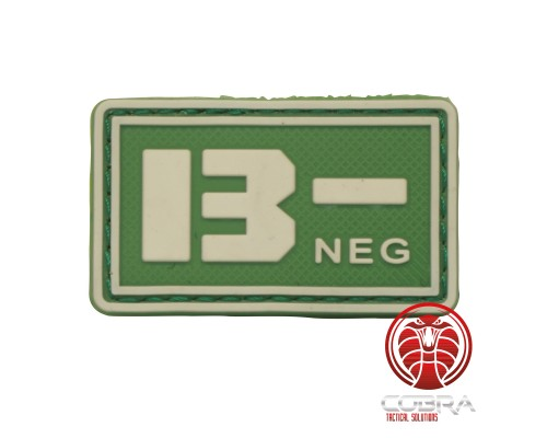 B- NEG 3D PVC Militaire bloedgroep patch groen fluo met klittenband