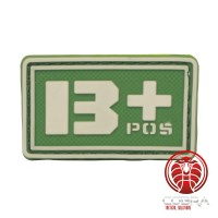 B+ POS 3D PVC Militaire bloedgroep patch groen fluo met klittenband