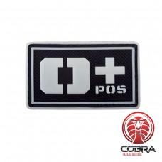 O+ POS bloedgroep 3D PVC Militaire patch fluo met klittenband