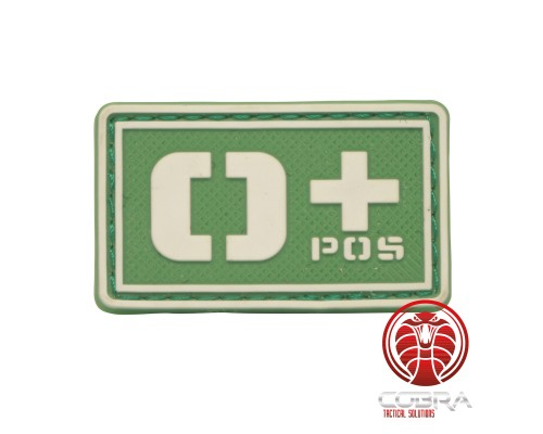 O+ POS 3D PVC Militaire bloedgroep patch groen fluo met klittenband