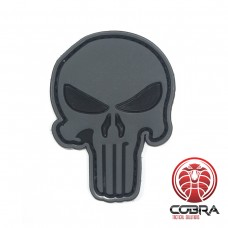 3D PVC embleem The Punisher Grijs Large met klittenband
