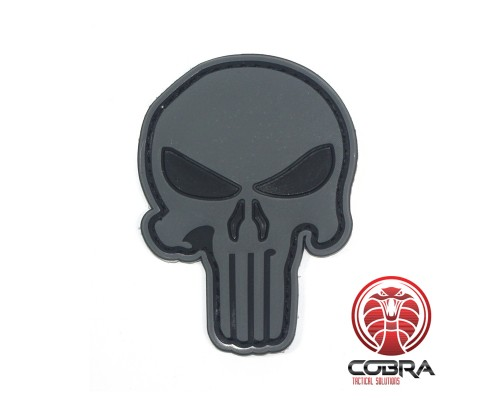 3D PVC embleem The Punisher Grijs Large met klittenband