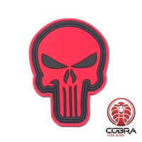 3D PVC embleem The Punisher Rood Medium met klittenband