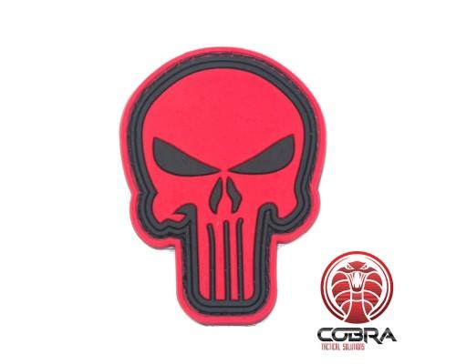 3D PVC embleem The Punisher Rood Medium met klittenband