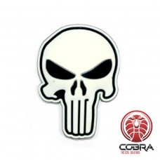 3D PVC embleem The Punisher Wit Large met klittenband