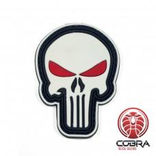 3D PVC embleem The Punisher Wit met Rode ogen met klittenband