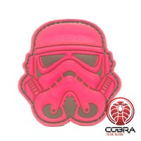 3D PVC patch Star Wars Stormtrooper hoofd rood met klittenband