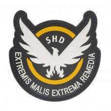 Eagle Team Shield Agent Extremis Malis Extrema Remedia PVC Patch Oranje zwart met klittenband