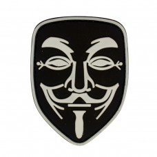 Guy Fawkes Anonymous Vendetta Mask PVC zwart patch met velcro