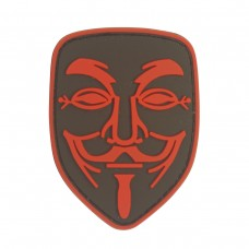 Guy Fawkes Anonymous Vendetta Mask PVC rood patch met velcro