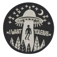 I want to believe UFO abduction patch zwart met klittenband