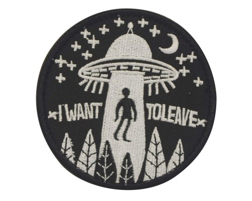 I want to believe UFO abduction patch zwart met klittenband