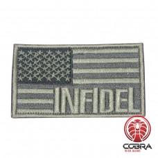 INFIDEL geborduurde USA vlag patch zilver Airsoft met klittenband