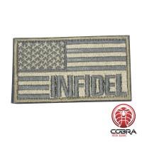 INFIDEL geborduurde USA vlag patch goud Airsoft met klittenband