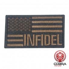 INFIDEL geborduurde USA vlag patch brons Airsoft met klittenband