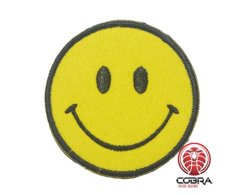 Happy Smiley geborduurde rode patch | Strijkpatches | Military Airsoft