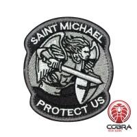 Saint Michael Protect US Geborduurde motiverende zilveren Patch met klittenband