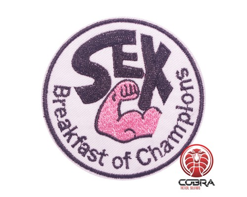 SEX Breakfast of champions geborduurde patch   Strijkpatches   Military Airsoft