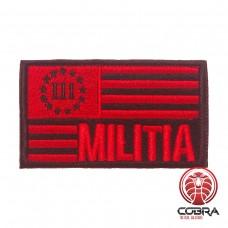 III Militia USA flag Rode Geborduurde motiverende militaire Patch met klittenband