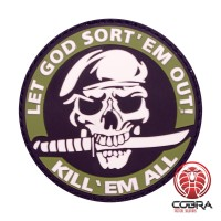 Let God Sort 'em out! Kill 'em all militaire groene motiverende PVC Patch met klittenband