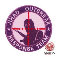 JIHAD OUTBREAK Response Team geborduurde witte patch met velcro