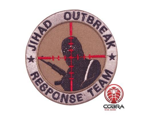JIHAD OUTBREAK Response Team geborduurde bruine patch met velcro