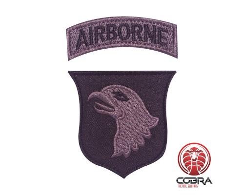 Airborne zilveren geborduurde militaire patch met velcro