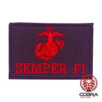 Semper fi black rode militaire geborduurde patch met velcro