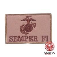 Semper fi bruine militaire geborduurde patch met velcro
