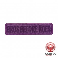 Bros before hoes embroidered blue motivational patch with velcro