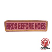 Bros before hoes embroidered licht green brown motivational patch with velcro