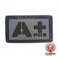 A+ POS blood type 3D PVC Military patch black gray with velcro