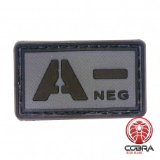 A- NEG blood type 3D PVC Military patch black gray with velcro