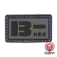 B- NEG blood type 3D PVC Military patch black gray with velcro